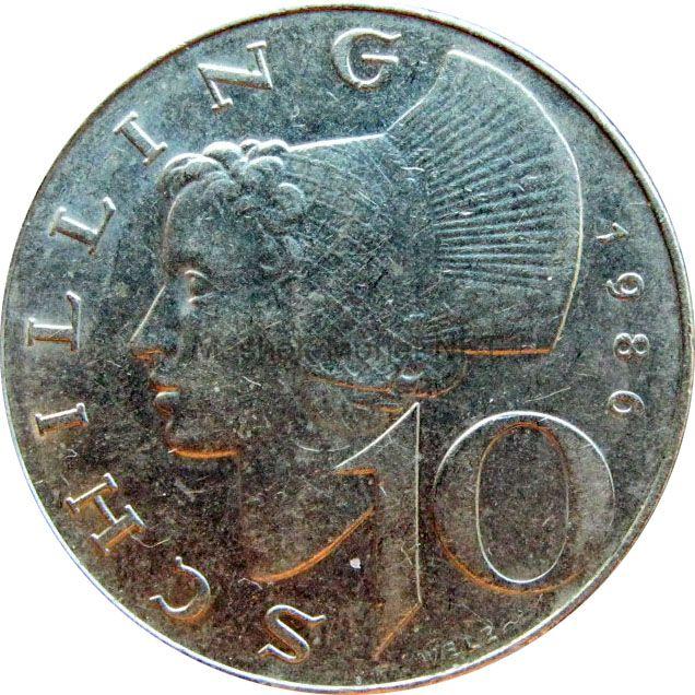 Австрия 10 шиллингов 1986 г.