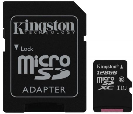 Карта памяти Kingston microSD Class 10 128 GB+SD адаптер