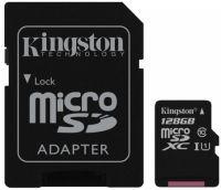 Карта памяти Kingstone microSD Class 10 128 GB+SD адаптер
