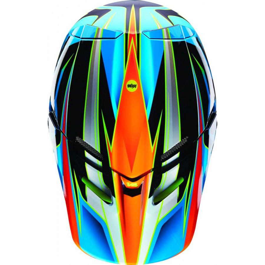 Fox - V4 Race козырек к шлему, сине-желтый