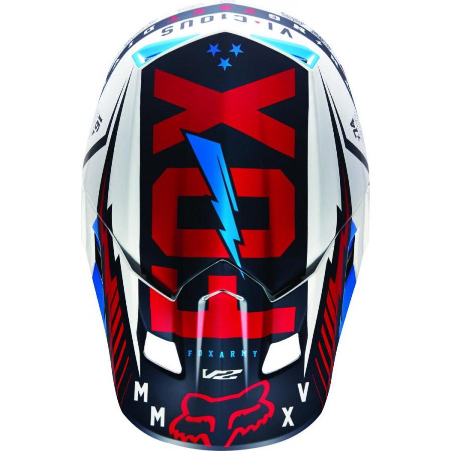 Fox - V2 Vicious козырек к шлему, сине-белый