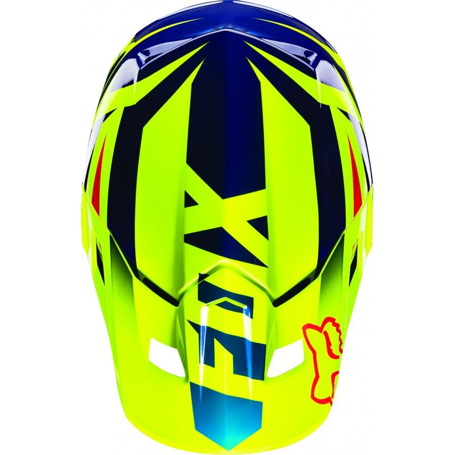 Fox - V2 Race козырек к шлему, сине-желтый