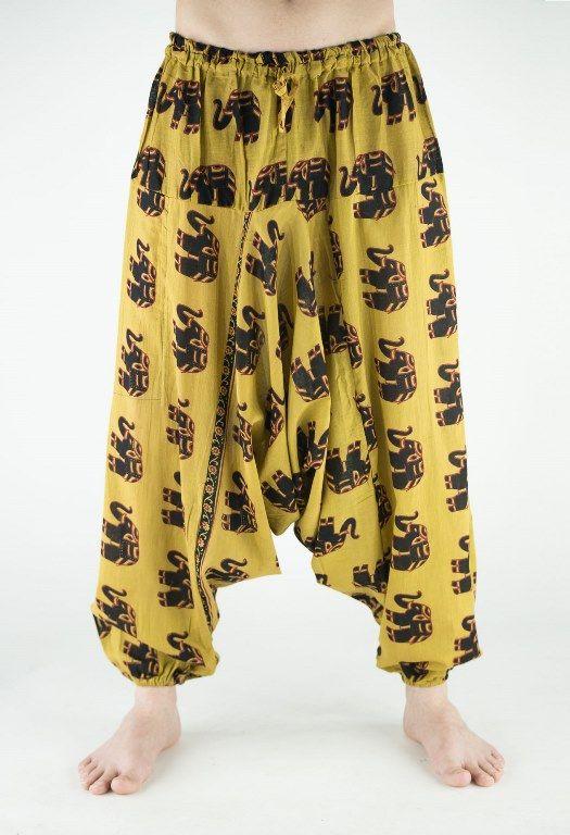 Мужские индийские штаны афгани со слонами (СПб)