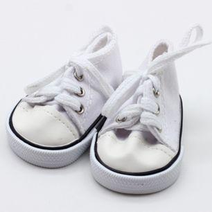 Обувь для кукол кеды широкие 7 см - белые УЦЕНКА