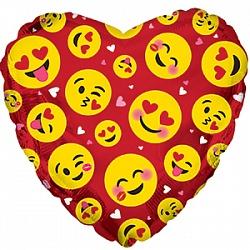 Влюблённые смайлы красный шар фольгированный сердце с гелием