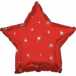 Звезда с искорками красная шар фольгированный с гелием