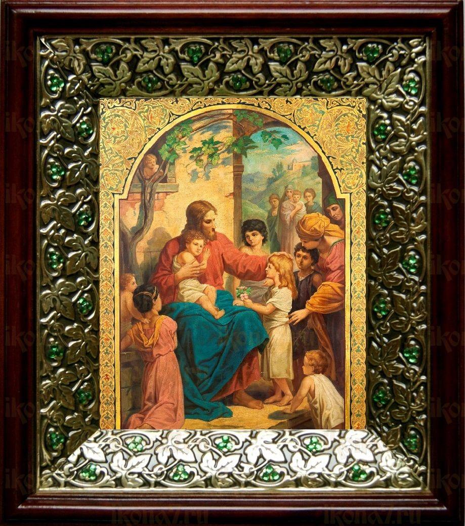 Иисус Христос и дети (21х24), киот со стразами