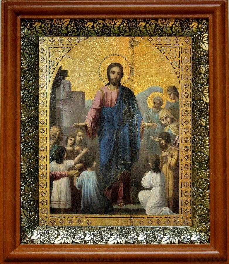 Иисус Христос и дети (19х22), светлый киот