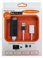 Кабель MHL HDMI для iOS/Android с доп.питанием / длина 2м