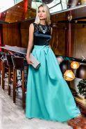 Черно-голубое платье в пол с атласным лифом