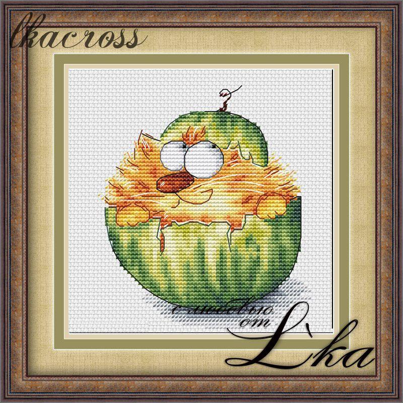 """""""Tum-Melon"""". Digital cross stitch pattern."""