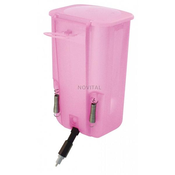 Ниппельная поилка с бачком 1л розовая