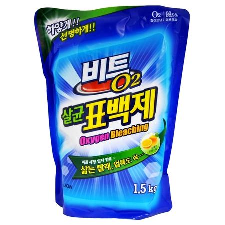 """CJ Lion Кислородный отбеливатель """"Beat O2"""" порошок, мягкая упаковка, 1.5 кг"""