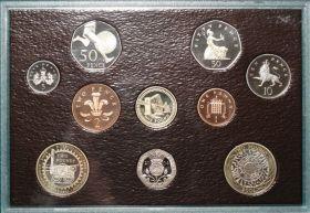 Официальный набор  10 монет Великобритания 2004 Пруф в деревянной шкатулке