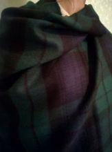 Теплая шаль  100 % стопроцентная шотландская овечья шерсть, расцветка Блэк Уотч Черная Стража Британской Империи, плотность 6