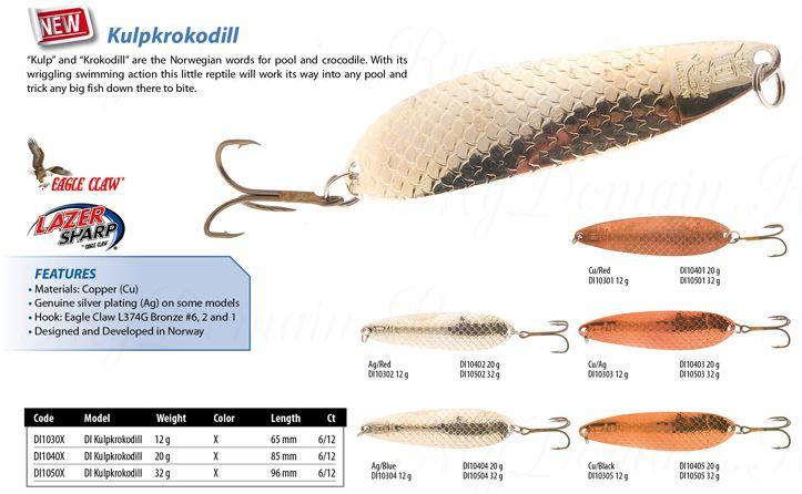 Блесна колеблющаяся Delfin Kulpkrokodill, вес 32 гр., длина 96 мм., крючок №1 (DI105) Cu/Ag