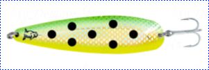 Блесна троллинговая колеблющаяся Rhino Trolling Spoons III модель Xtra MAG 115 мм, 27 гр., расцветка: natural gold green dolphin