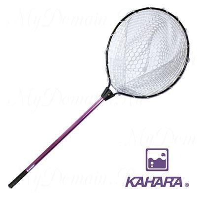 Подсак для форели KAHARA, прозрачная резина, обруч D-45см,рукоятка-70см - фиолетовая.(KHR-HOOP-PRPL)