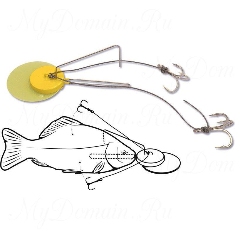 Оснастка для ловли сома Black Cat Dead Bait Jig Rig желтая #2/0 x2 hook 75 г, 100 кг.