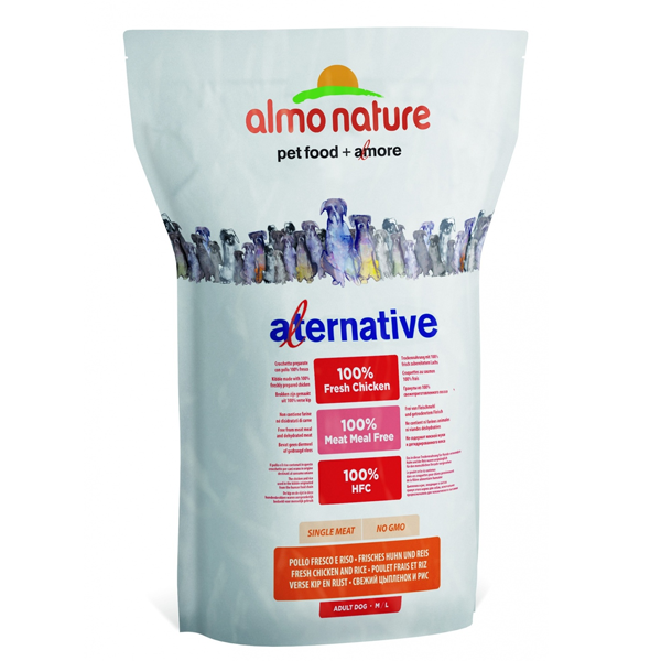 Корм сухой Almo nature Alternative (50% мяса) для собак средних и крупных пород с цыпленком и рисом 9.5кг