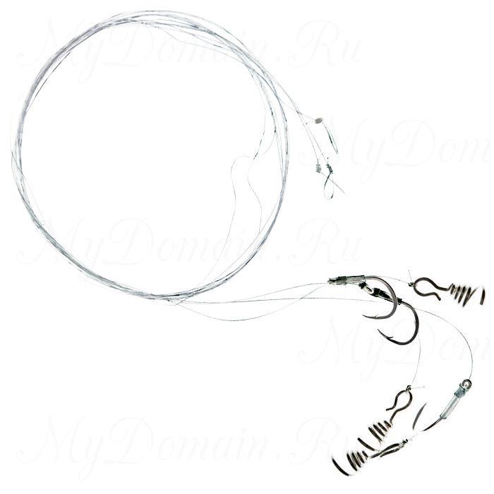 Поводок форелевый ZETTECH с пружиной,100% флюр., крючок №8; 4 кг; 80см; в уп.3шт. (Zttch-P-Frl-4kg-80-№8)