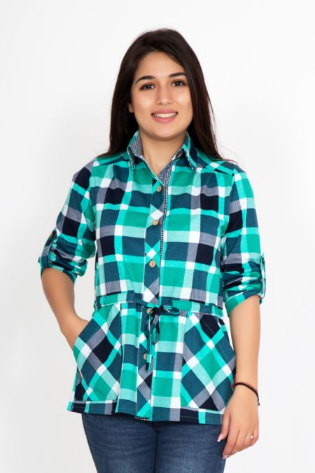 Женская рубашка синяя клетка