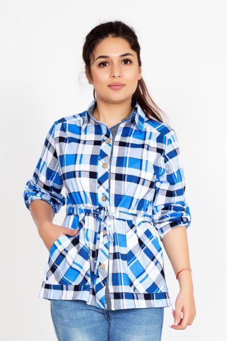 """Женская рубашка """"Клетка"""" голубая"""