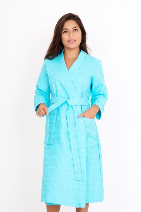 Банный бирюзовый халат