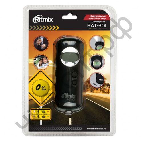 Алкотестер RITMIX RAT-301. 2 x ААA. полупроводниковый.  подготов: 10 с. измерения: 10 с.  фонарик, автоматическое выключение питания.