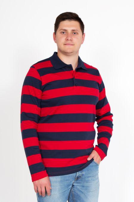 """Мужская футболка-поло """"Фреди"""" с длинным рукавом"""