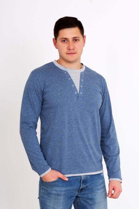 """Мужская футболка """"Денди голубая"""" с длинным рукавом"""
