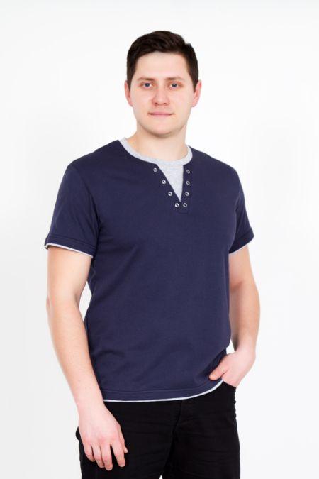 """Мужская футболка """"Джон"""" т.синяя"""