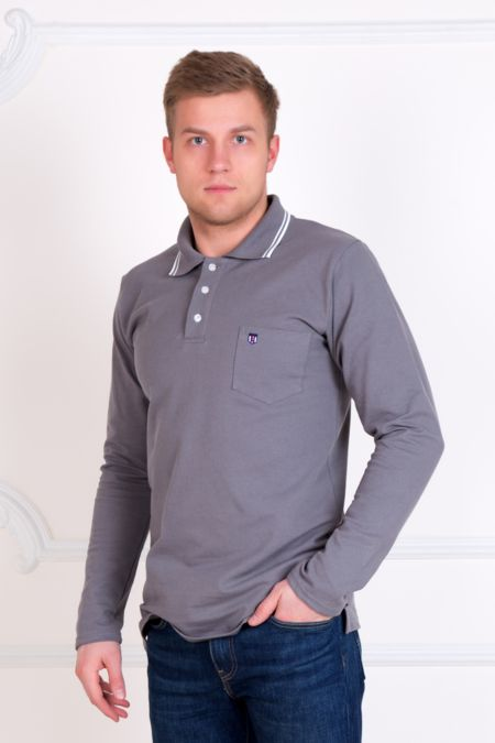 Мужская футболка-поло, серая с длинным рукавом