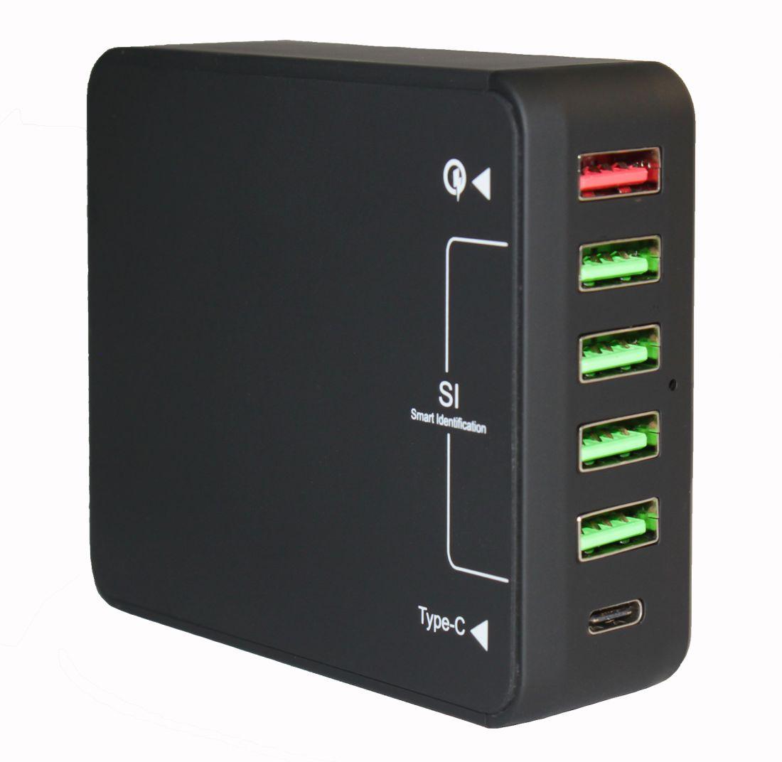 Зарядное устройство Qualcomm Quick Charge 3.0 5*USB+TypeC (40W)