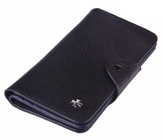 Бумажник кожаный NarVin 9650-N.Polo Black / D.Blue