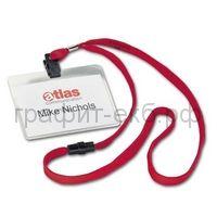 Бейдж 90х60 с текстильным красным шнуром D8139-03