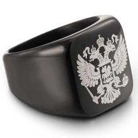 Стальной перстень с гербом России