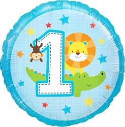 Новая цифра 1 для мальчика шар фольгированный с гелием