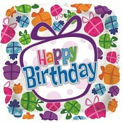 Квадратный шар С Днем Рождения с подарками фольгированный с гелием