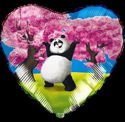 Милая панда под сакурой шар фольгированный с гелием
