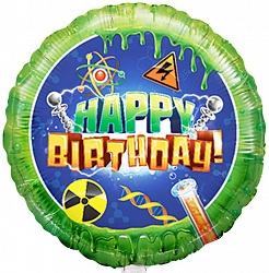 Естесственнонаучный шар С Днем Рождения фольгированный с гелием