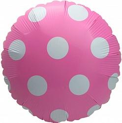 Розовый шар в крупный горошек фольгированный с гелием