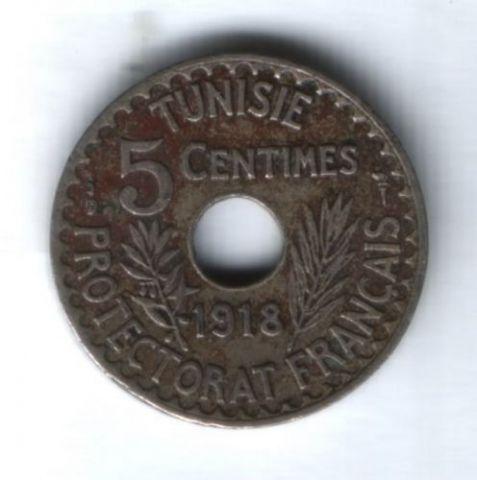 5 сантимов 1918 г. Тунис