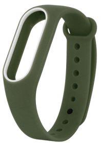 Ремешок для браслета Xiaomi Mi Band 2 Army темно-зеленый с белым
