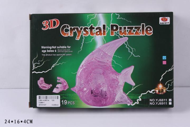 3D-пазл Магический Кристалл Рыбка с подсветкой (YJ6911) 2 цвета, 19 дет.