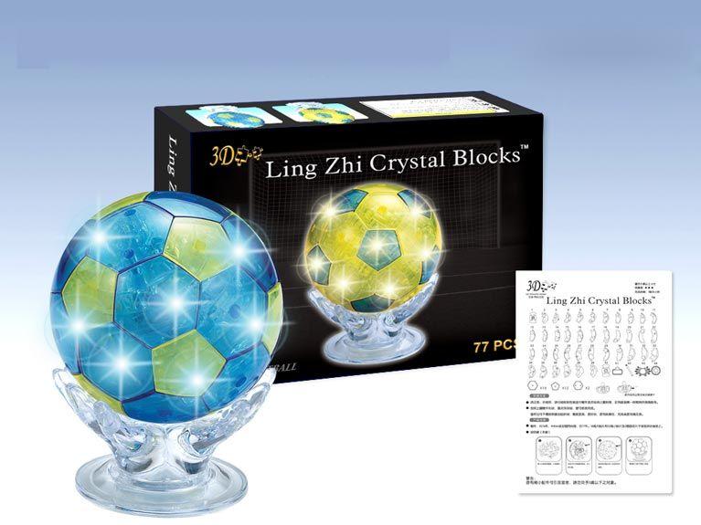 3D-пазл Магический Кристалл Футбольный мяч со светом (9054А) 2 цвета, 77 дет.