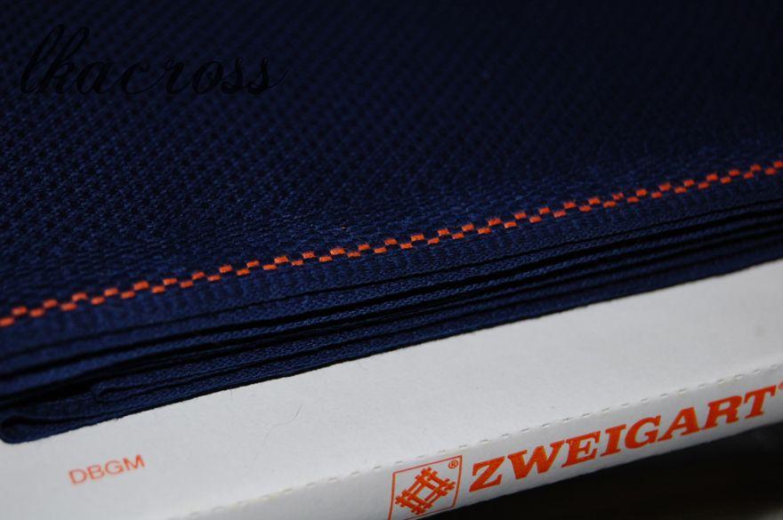 Zweigart Aida ct.14 Темно-синяя. Основа для вышивания.