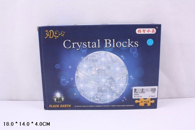 3D-пазл Crystal Blocks Глобус со светом (9040А) 2 цвета, 41 дет.