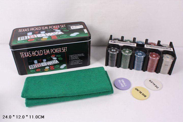 0893 Покер набор 200 фишек с номиналом, карты, сукно с игровым полем Texas Holdem