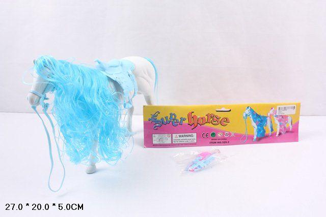 329-2 Лошадь белая флокированная с расческой